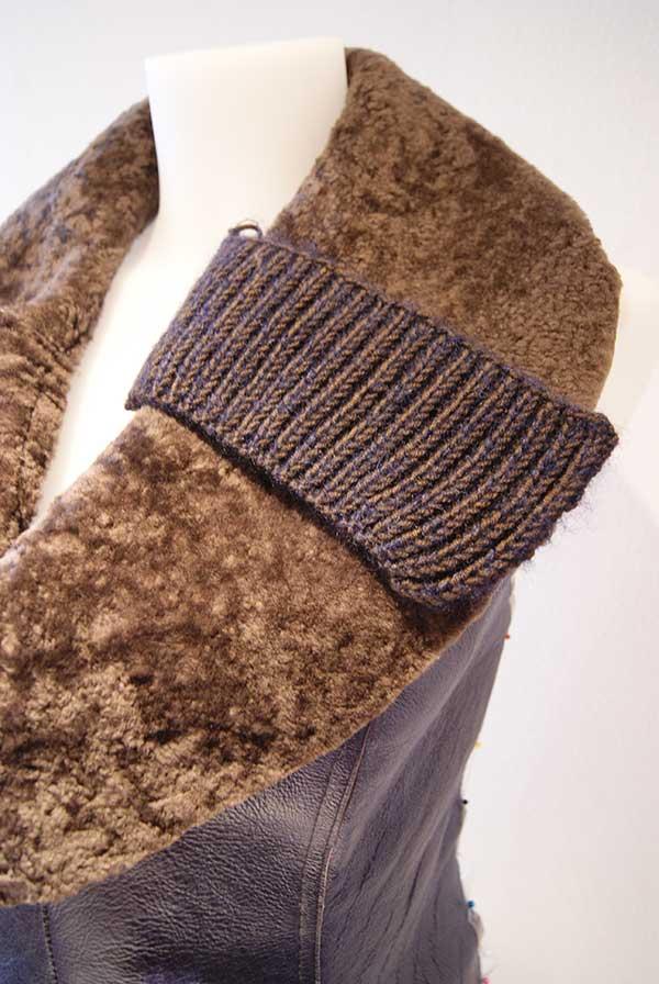 Weste aus Leder mit Fell Applikationen